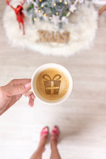 Hot coffee or spiced chai latte at Christmas time