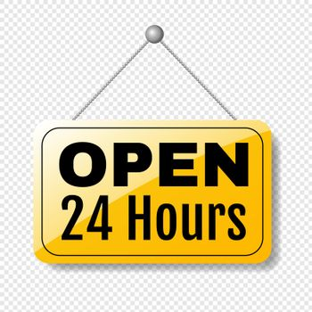 Open Sign 24 Hours Transparent Background