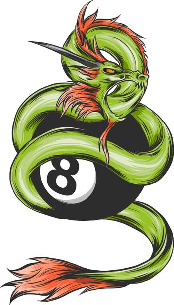 Chinese green Dragon of power and wisdom flying cartoon illustration