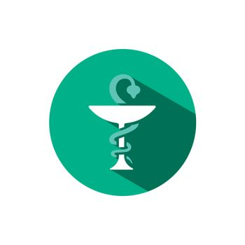 Pharmacy symbol chalice and snake icon with shadow on a green circle. Vector pharmacy illustration