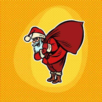 Santa Claus with a bag of gifts. Christmas and New year Comic cartoon pop art retro vector drawing illustration