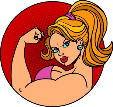 woman biceps bodybuilding. Comic cartoon pop art retro vector illustration drawing