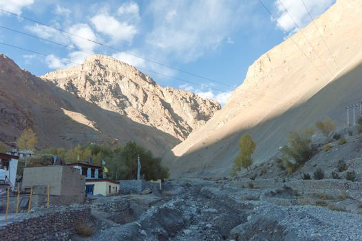 Town Kaza or Kaze Landscape view. A high altitude mountain village of remote Spiti Valley in western Himalayas in Lahaul and Spiti district of northern Indian state of Himachal Pradesh India Asia Pac.