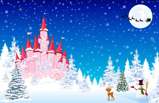 Pink castle on a background of a winter snowy forest. Snowman welcomes. Little deer. Winter landscape with a pink castle in the forest, snow, night, snowflakes. Santa Claus on a sleigh with deers on the background of the moon.