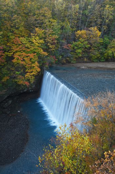 Autumn scene with a dam near Tohoku, Japan