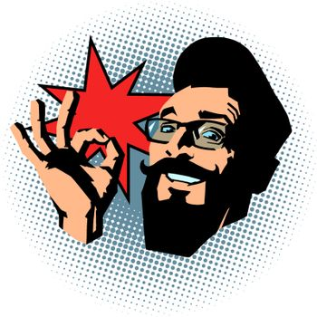 smiling hipster OK gesture. comic cartoon pop art retro vector illustration drawing