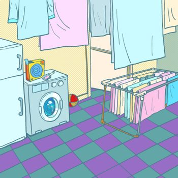 Home washing and drying. Washing machine. Comic cartoon pop art retro vector illustration drawing