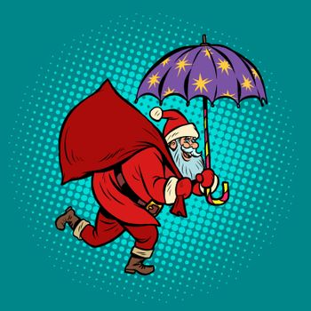 Santa Claus with star umbrella, magical night. Christmas and New year. Comic cartoon pop art retro vector illustration drawing