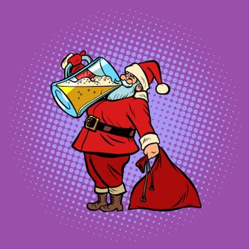 Santa Claus drinking beer. Christmas and New year. Comic cartoon pop art retro vector illustration drawing