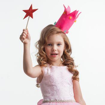 Princess girl with star magic wand
