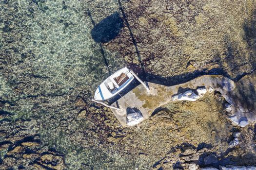 aerial view of hanging boat on the beach near the town of Umag, Istria, Croatia