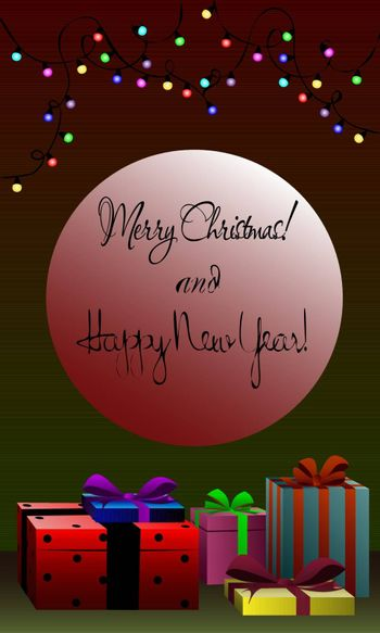 Festive christmas greeting card on dark green and dark red background