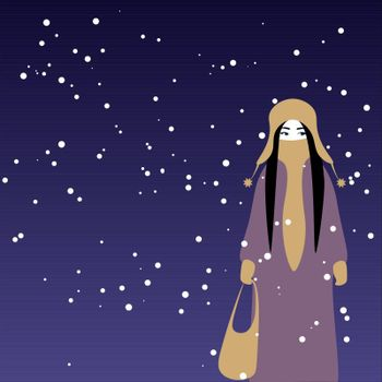 Cartoon girl in warm clothes walking winter night or evening
