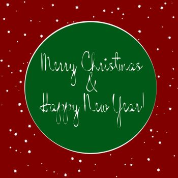 Festive text `Merry Christmas and Happy New Year!` in green circle and flying snow on red background