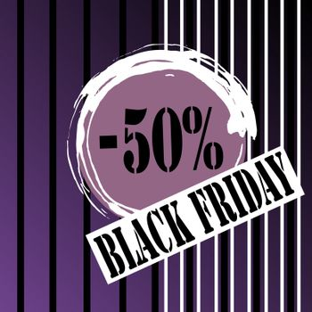 Sale discount -50% in lilac circle, stamp text `black friday`