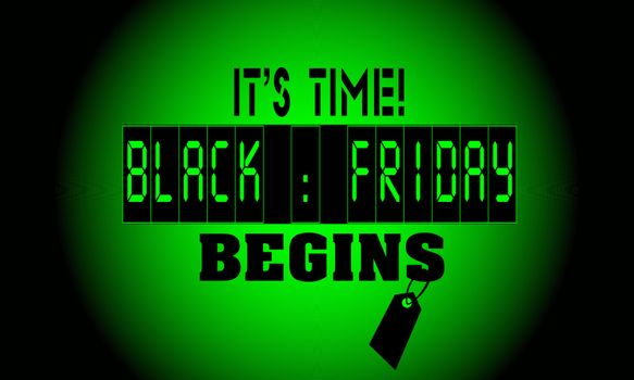 Text `Black Friday` in alarm clock screen like a countdown on black and green background with price tag