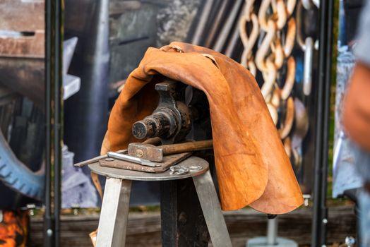 blacksmith forged iron traditional hammer beating