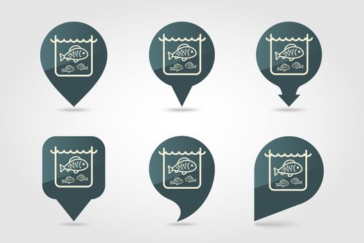 Fish in a pond or aquarium vector pin map icon