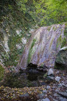 Autumn waterfall in Mamedov gorge in Lazarevsky district of Sochi, Russia. 4 November 2019.