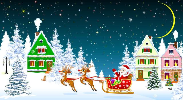 Santa on a sleigh with deers on the background of houses and forest. Santa Claus with presents on a sleigh. Houses, snow, snowy firs. Snowflakes. Winter starry night, moon.