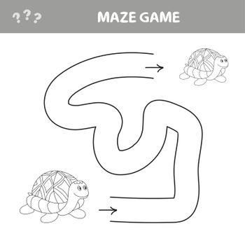 Easy maze for younger kids with a turtle