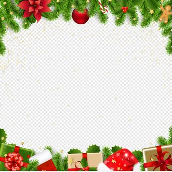 Christmas Border With Fir Tree Transparent Background With Gradient Mesh, Vector Illustration