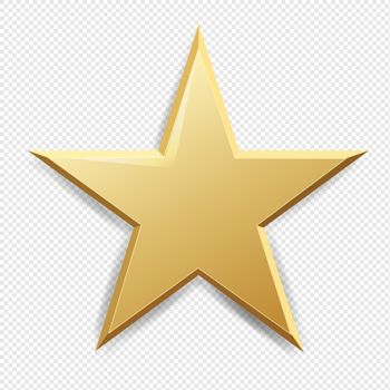 Golden Star And Isolated Transparent Background With Gradient Mesh, Vector Illustration