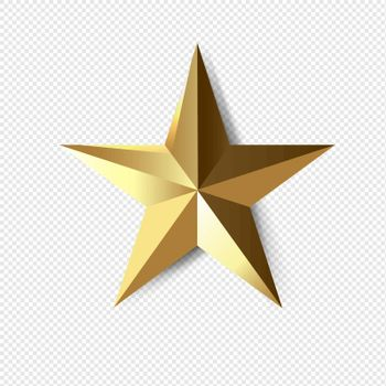 Golden Star Isolated Transparent Background With Gradient Mesh, Vector Illustration