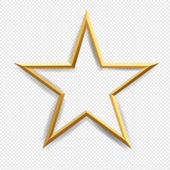 Golden Star With Isolated Transparent Background With Gradient Mesh, Vector Illustration