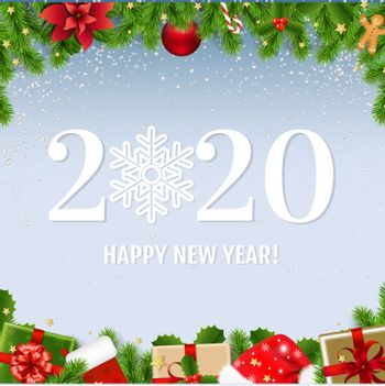 Happy New Year Card With Fir Tree With Gradient Mesh, Vector Illustration