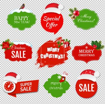Merry Christmas Labels set Isolated Transparent Background With Gradient Mesh, Vector Illustration