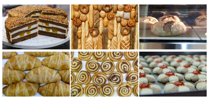 Set with fresh tasty pastry and Bakery foodstuffs collection on white background
