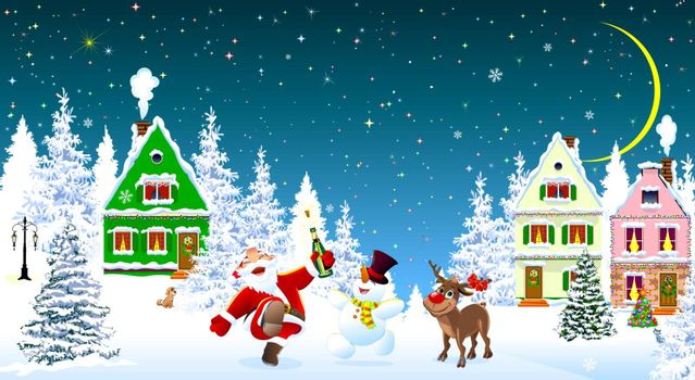 Santa Claus, snowman and deer in the night of Christmas, on the background of houses and forest. Snow covered houses and trees. Snow, snowflakes. Stars and moon in the sky. Santa, snowman and deer rejoice at Christmas.