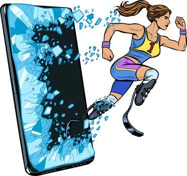woman runner disabled leg with prosthesis Phone gadget smartphone. Online Internet application service program