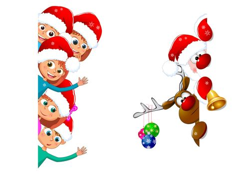 Little children and Santa with a deer on a white background. Children happily greet Christmas.
