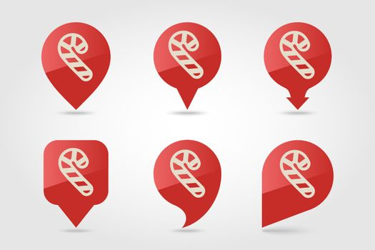 Christmas Candy Cane flat pin map icon