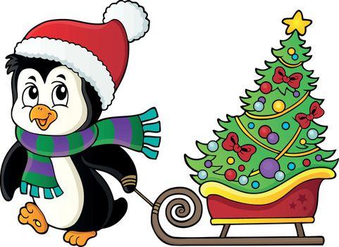 Christmas penguin with sledge image 1 - eps10 vector illustration.