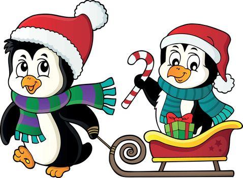 Christmas penguin with sledge image 2 - eps10 vector illustration.