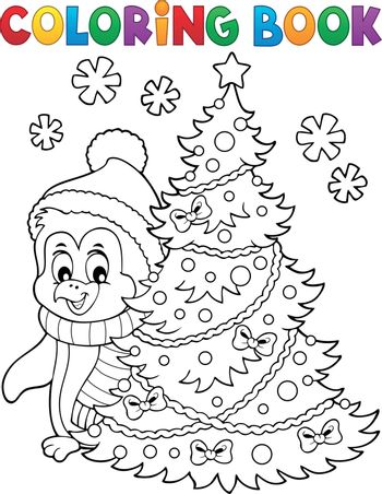 Coloring book Christmas penguin topic 6 - eps10 vector illustration.