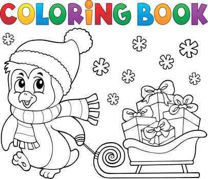 Coloring book Christmas penguin topic 9 - eps10 vector illustration.