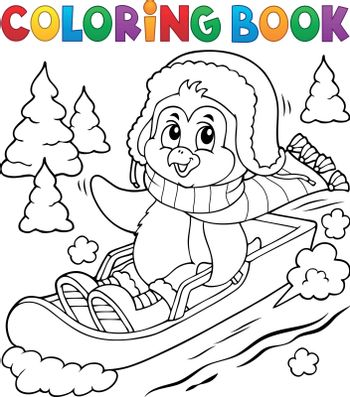 Coloring book penguin on bobsleigh 1 - eps10 vector illustration.