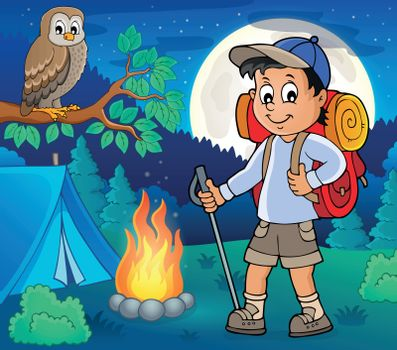 Image with hiker boy topic 4 - eps10 vector illustration.