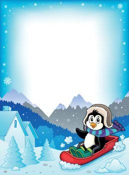 Penguin on bobsleigh theme frame 1 - eps10 vector illustration.