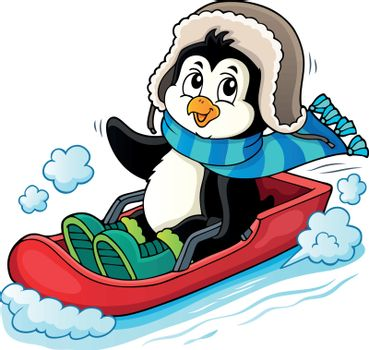 Penguin on bobsleigh theme image 1 - eps10 vector illustration.