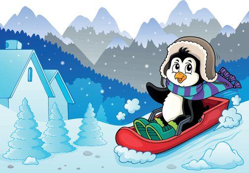 Penguin on bobsleigh theme image 3 - eps10 vector illustration.