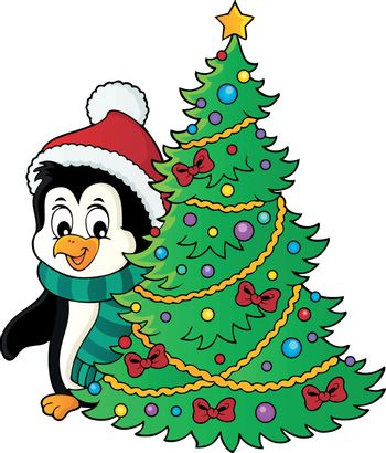 Penguin with Christmas tree image 1 - eps10 vector illustration.