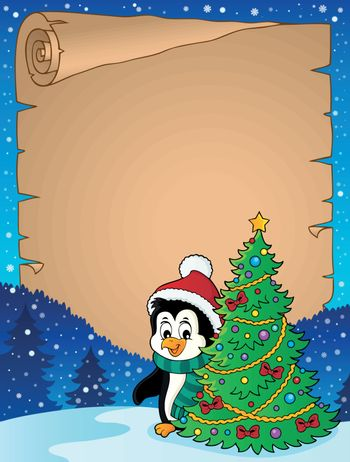 Penguin with Christmas tree parchment 1 - eps10 vector illustration.