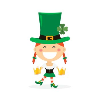 Saint Patricks day with girl in traditional dress and headgear. Ireland celebration festival irish and lucky theme. Vector illustration