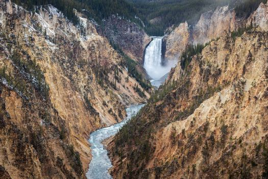 Water falls and river of Grand Canyon of the Yellowstone, Yellowstone National Park, Wyoming.