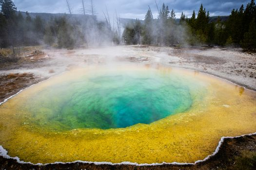 Colorful geyser basin with boiling water from geothermal heat, Morning Glory, Yellowstone National Park, Wyoming, USA. Colors of basin depending on temperature and kind of bacteria inside.